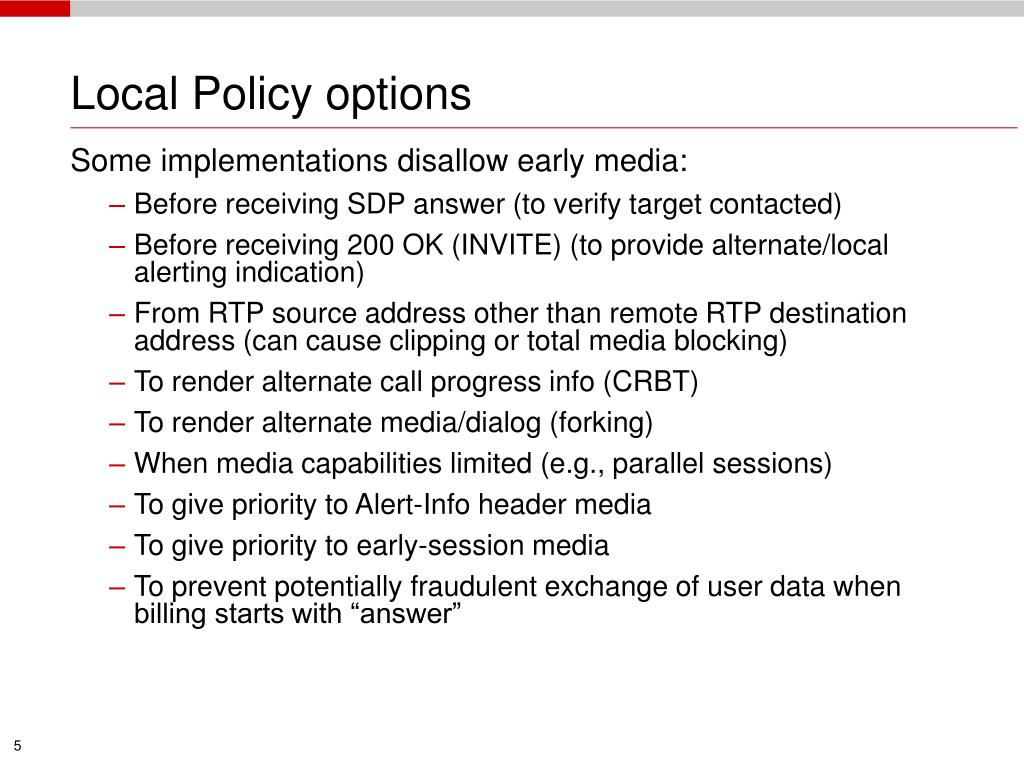 Local Policy options