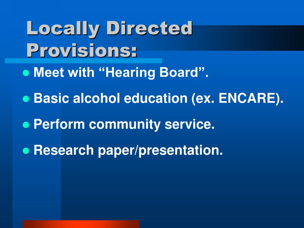Locally Directed Provisions: