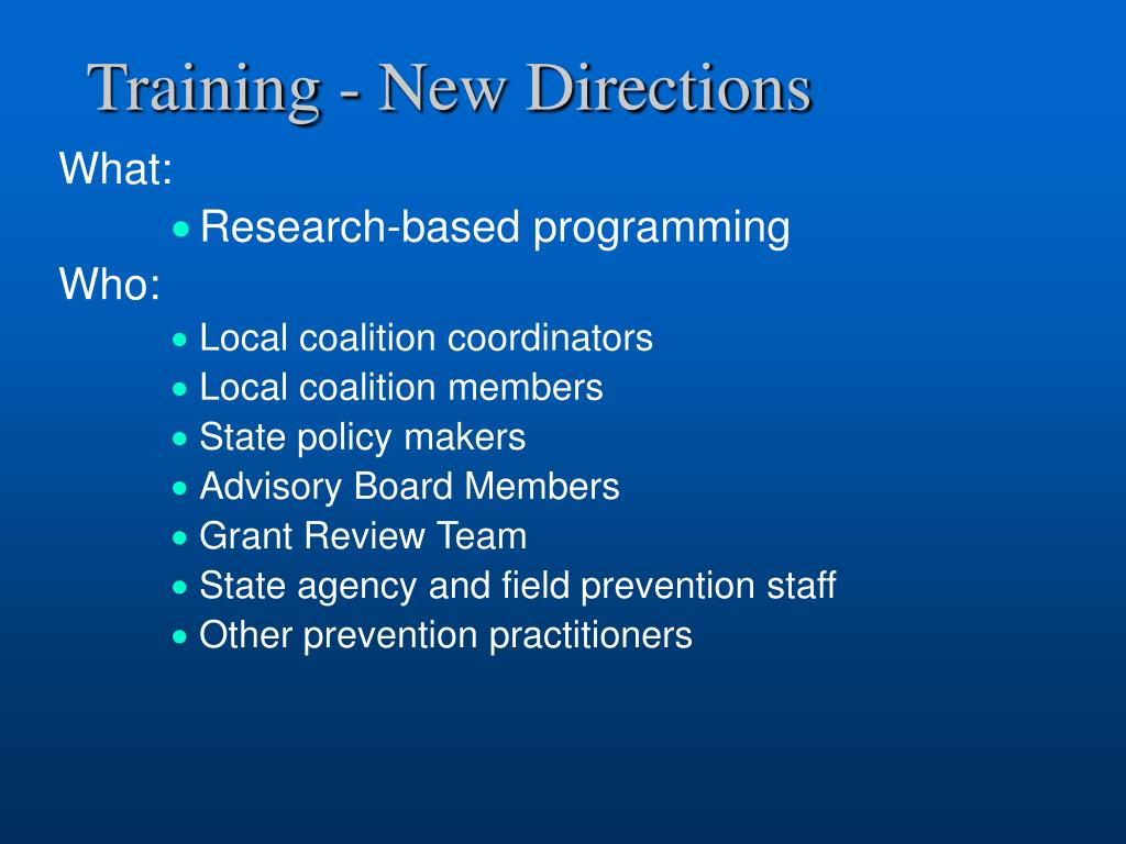 Training - New Directions