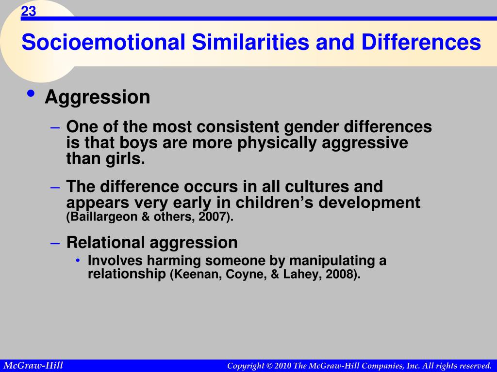 Socioemotional Similarities and Differences