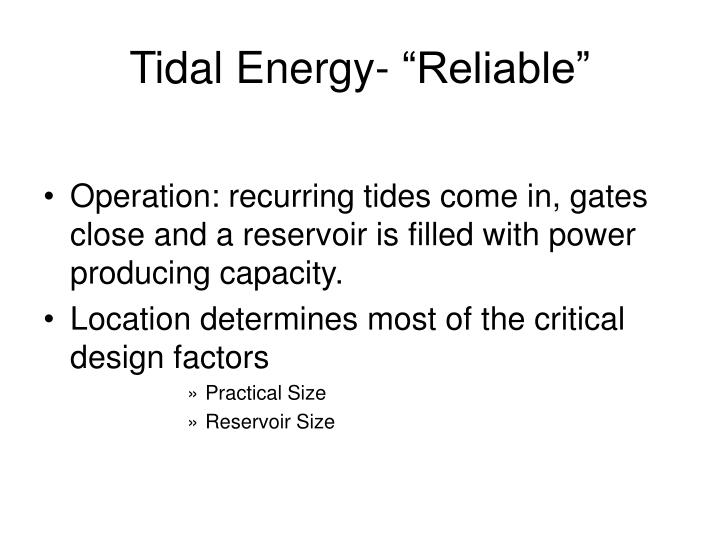 """Tidal Energy- """"Reliable"""""""