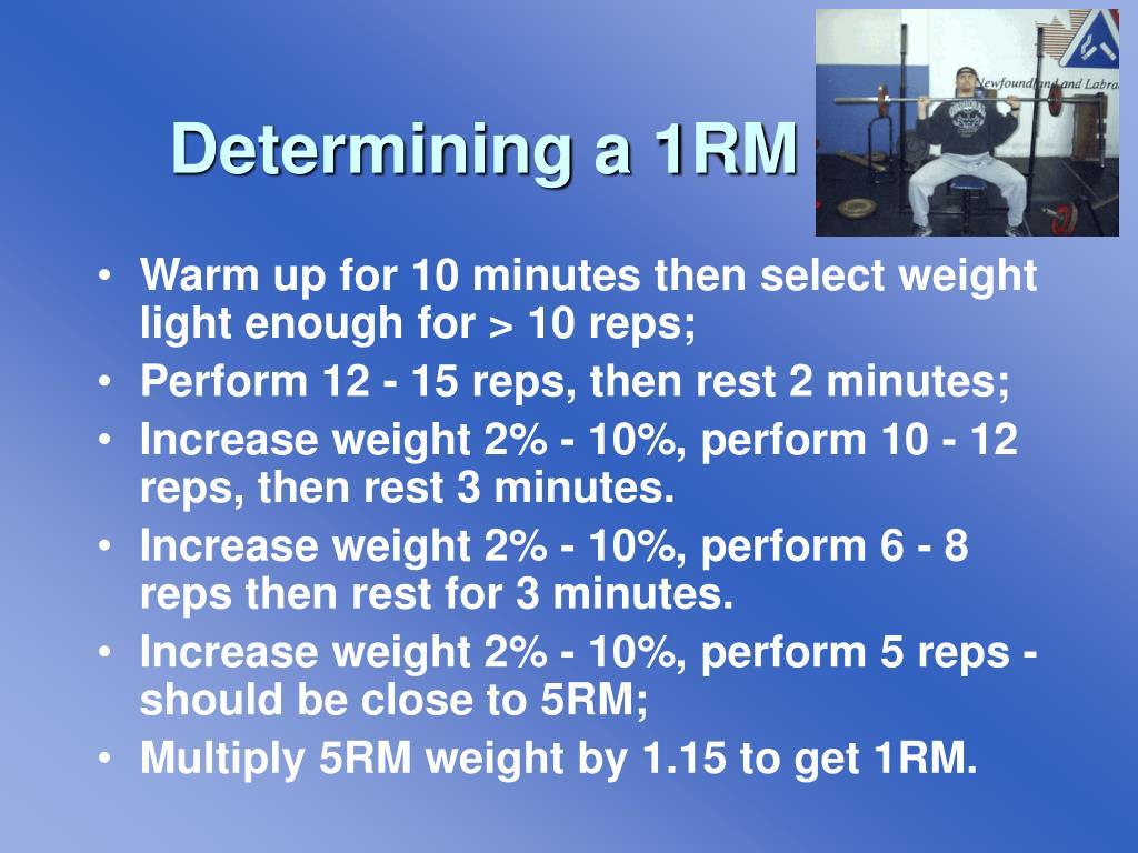 Determining a 1RM