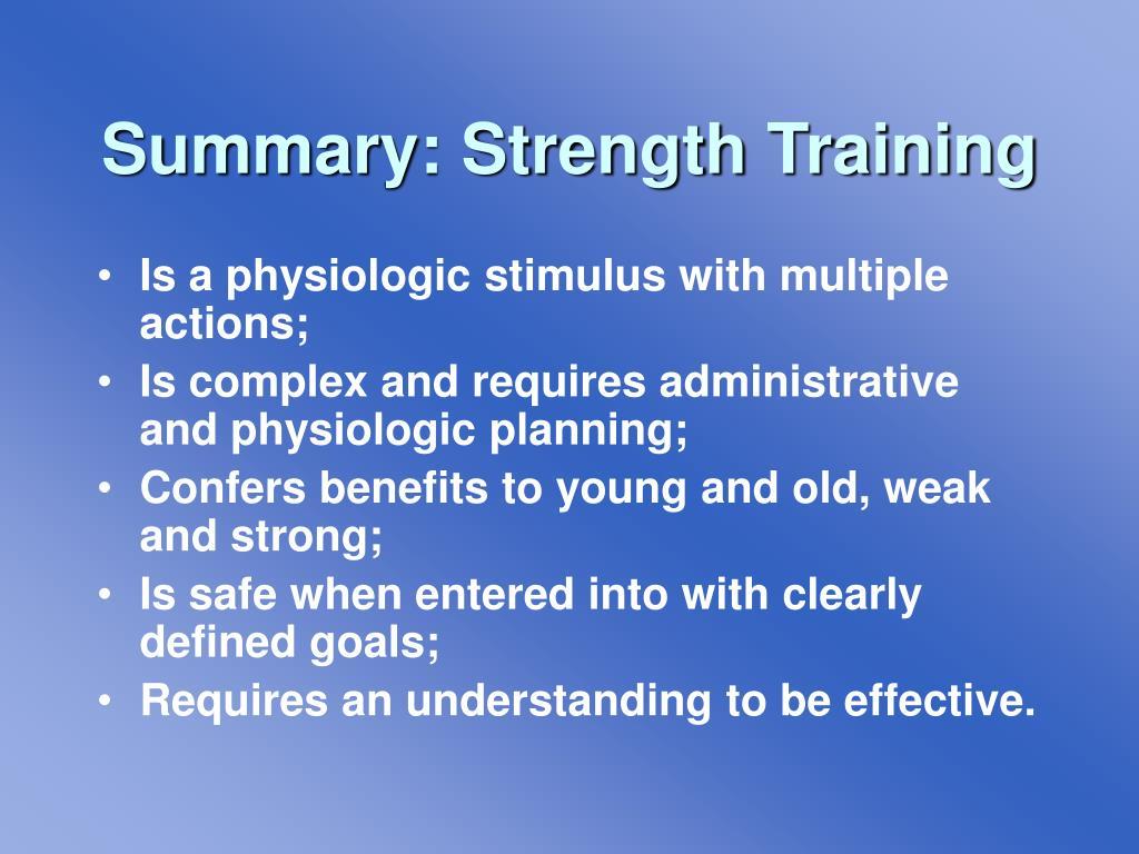 Summary: Strength Training