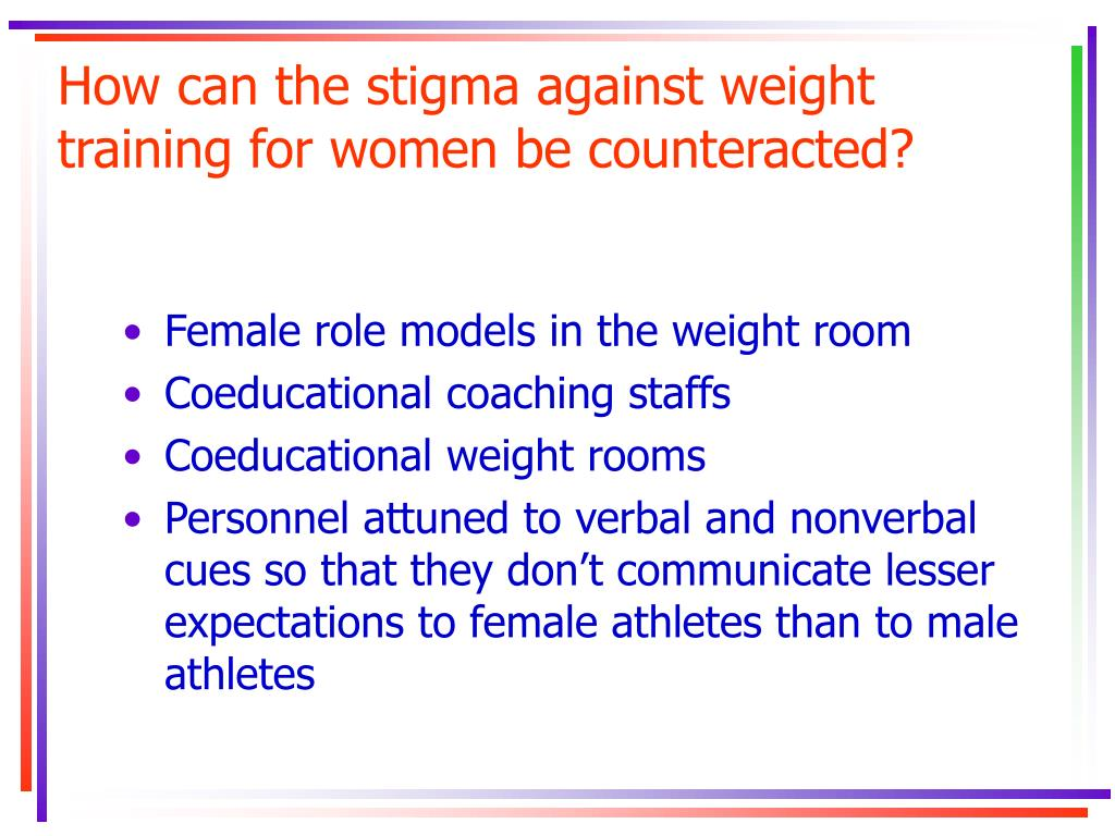 How can the stigma against weight training for women be counteracted?