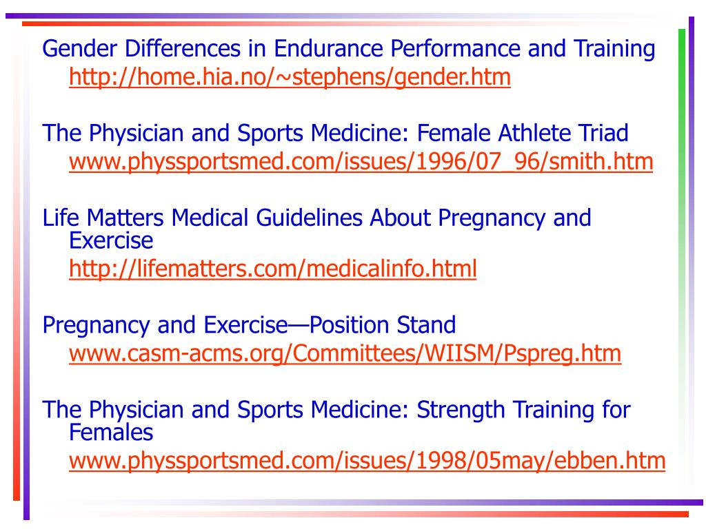 Gender Differences in Endurance Performance and Training