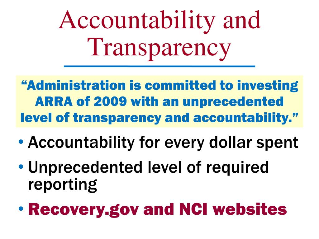 Accountability and Transparency