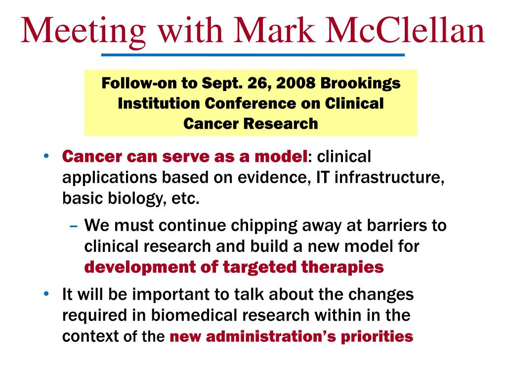 Meeting with Mark McClellan