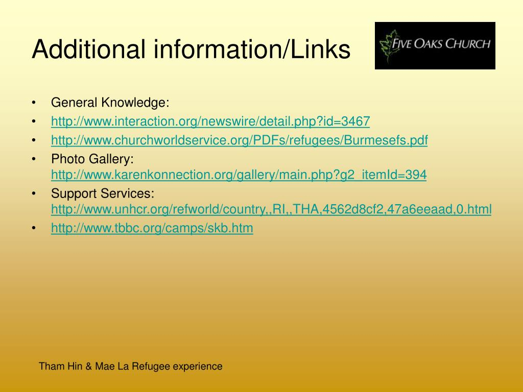 Additional information/Links