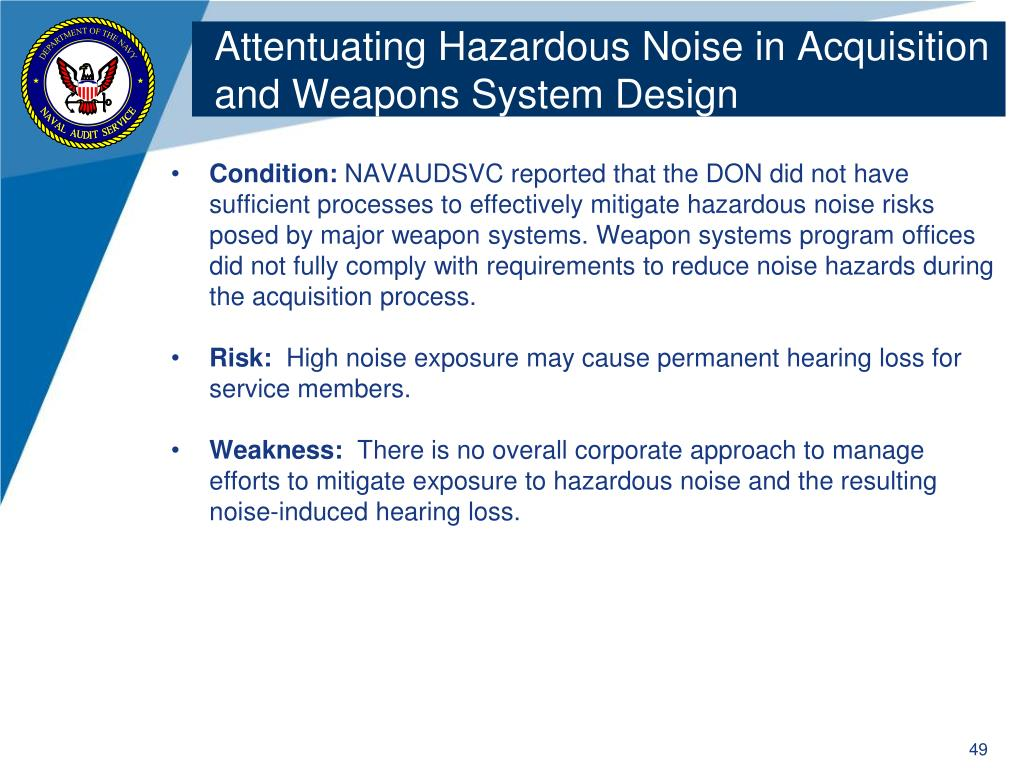 Attentuating Hazardous Noise in Acquisition and Weapons System Design