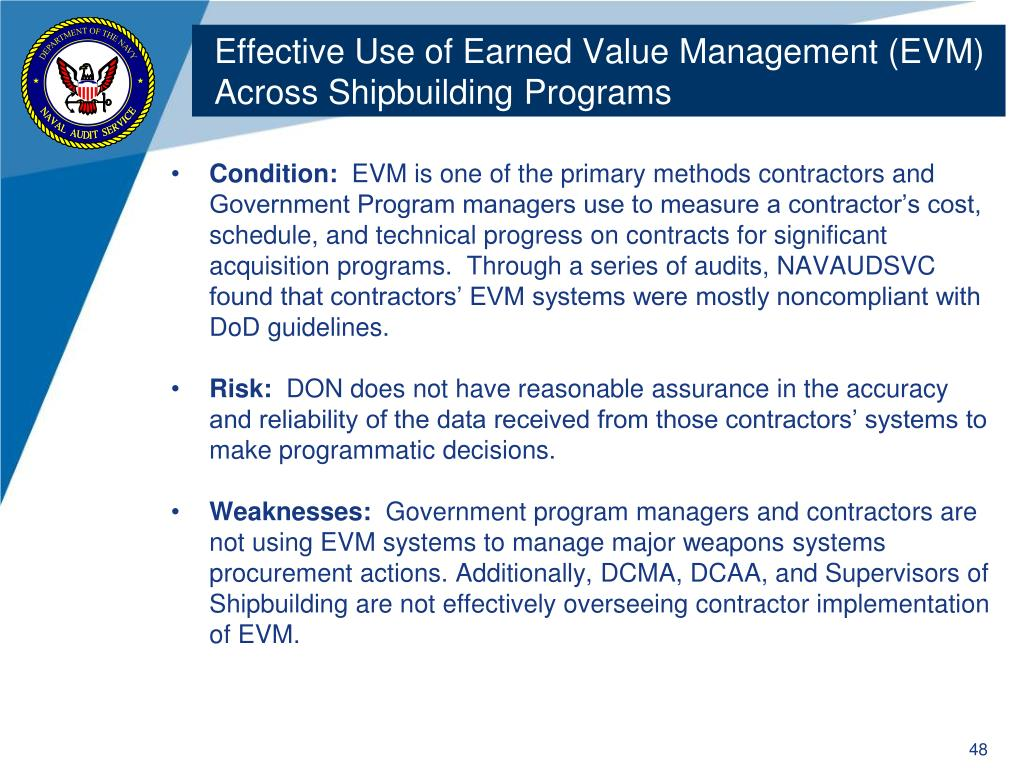 Effective Use of Earned Value Management (EVM) Across Shipbuilding Programs