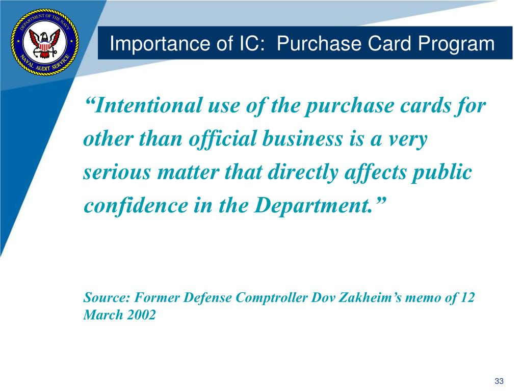 Importance of IC:  Purchase Card Program