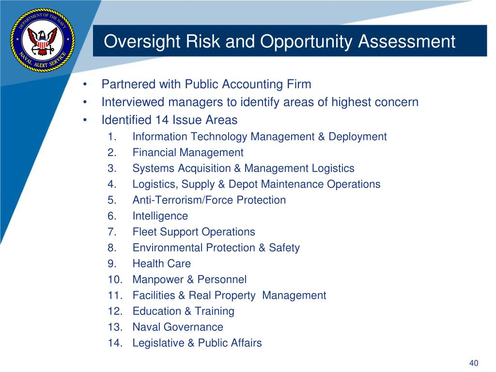 Oversight Risk and Opportunity Assessment