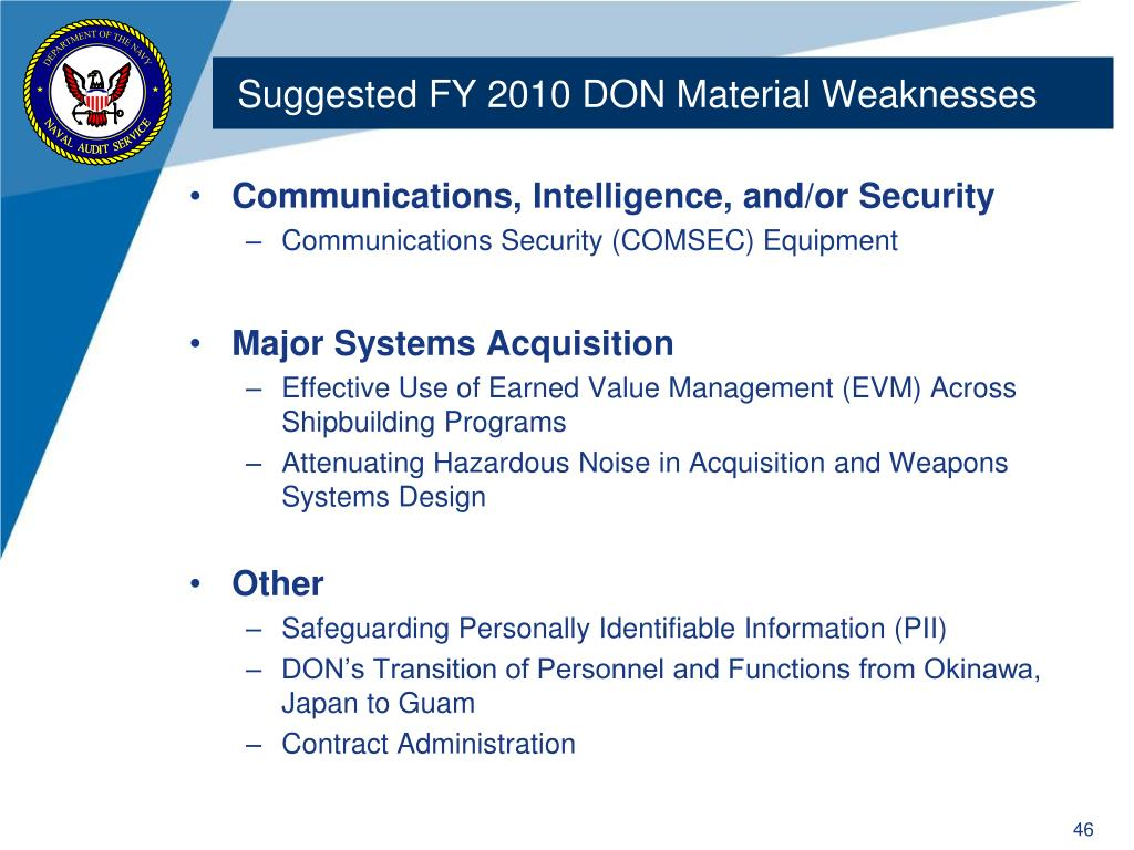 Suggested FY 2010 DON Material Weaknesses