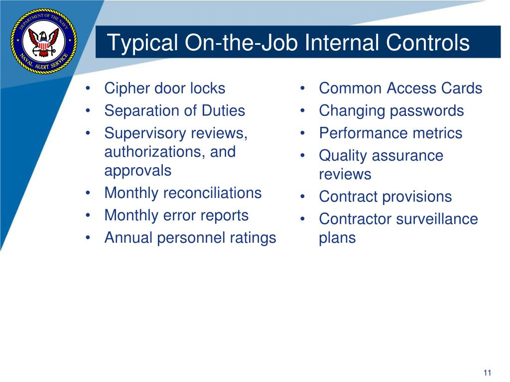 Typical On-the-Job Internal Controls