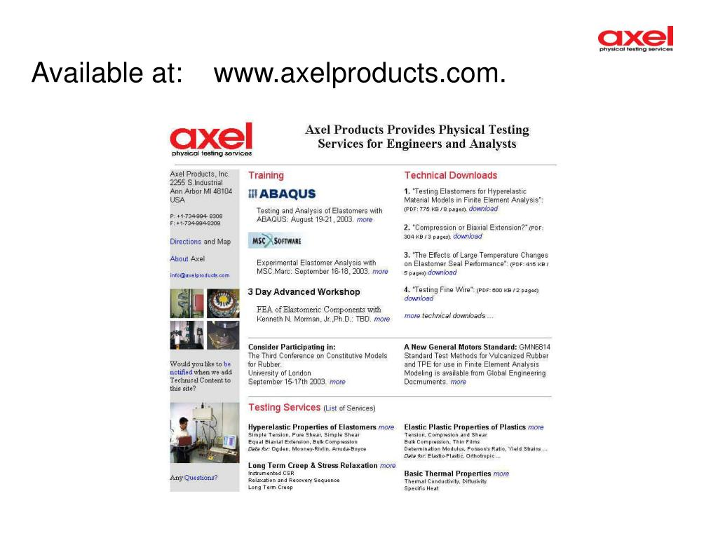 Available at:    www.axelproducts.com.