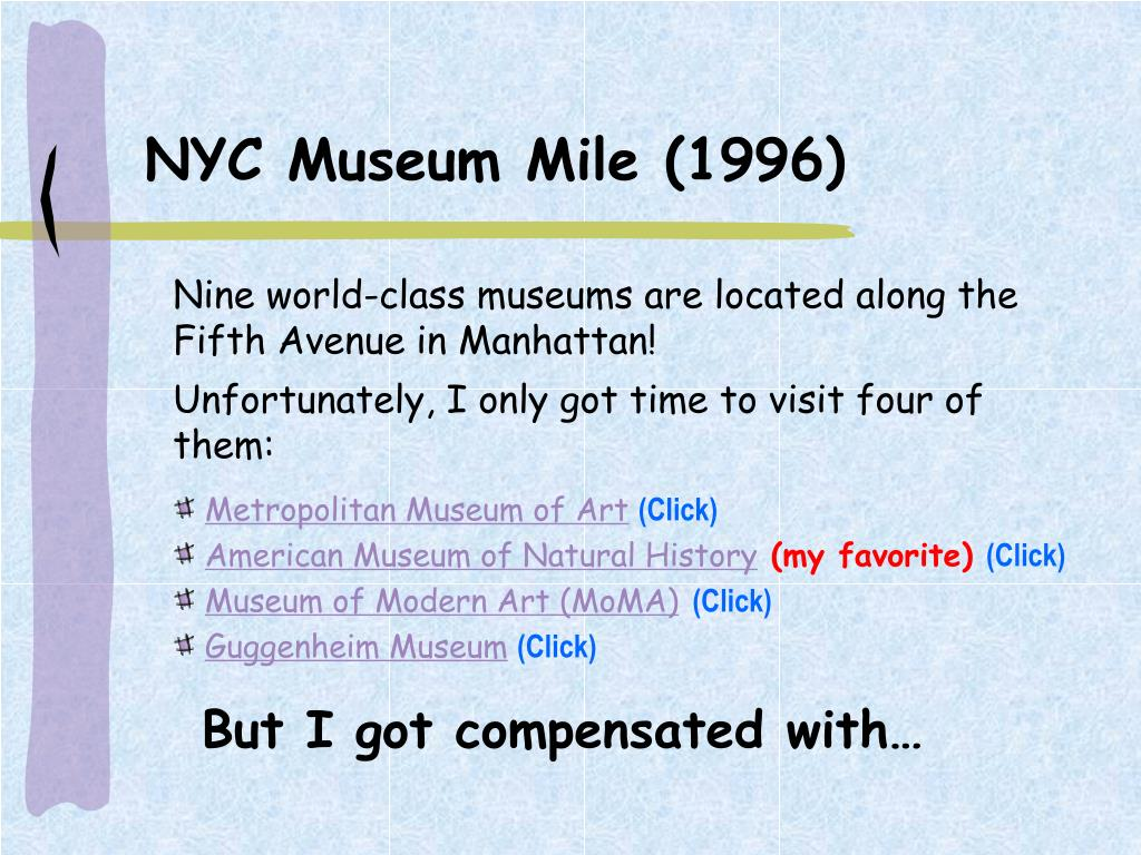 NYC Museum Mile (1996)