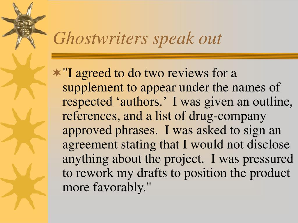 Ghostwriters speak out