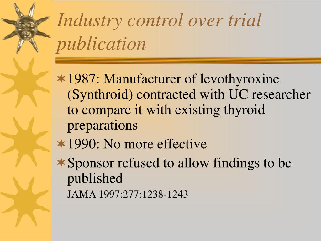 Industry control over trial publication