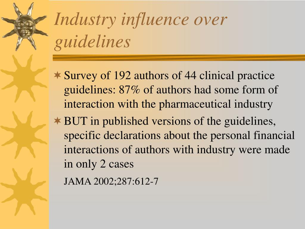 Industry influence over guidelines