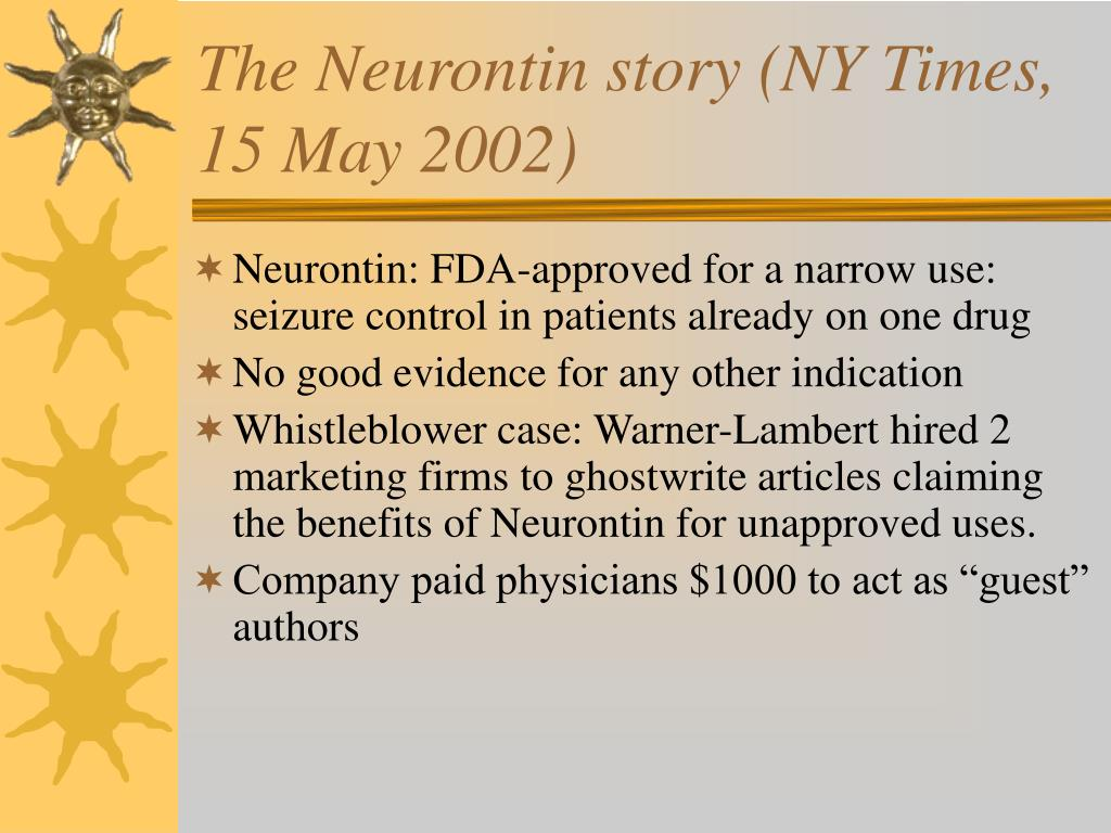 The Neurontin story (NY Times, 15 May 2002)