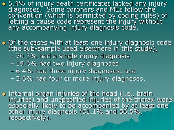 5.4% of injury death certificates lacked any injury diagnoses.  Some coroners and MEs follow the convention (which is permitted by coding rules) of letting a cause code represent the injury without any accompanying injury diagnosis code.