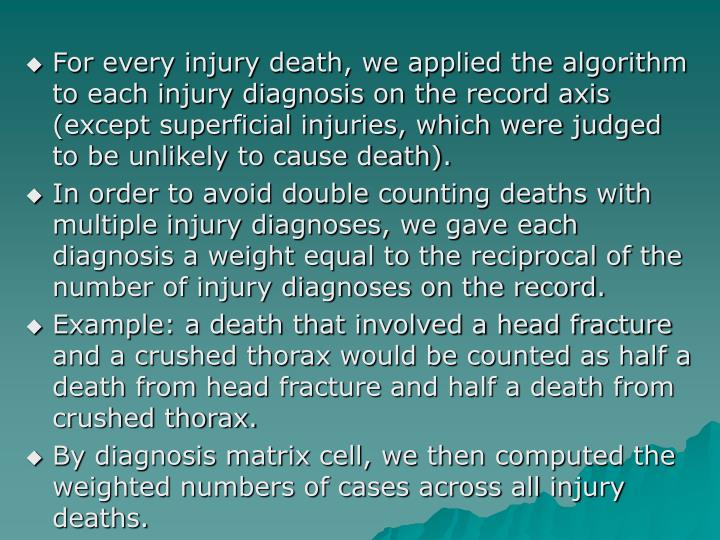 For every injury death, we applied the algorithm to each injury diagnosis on the record axis (except superficial injuries, which were judged to be unlikely to cause death).