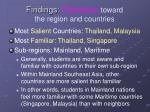 findings orientation toward the region and countries