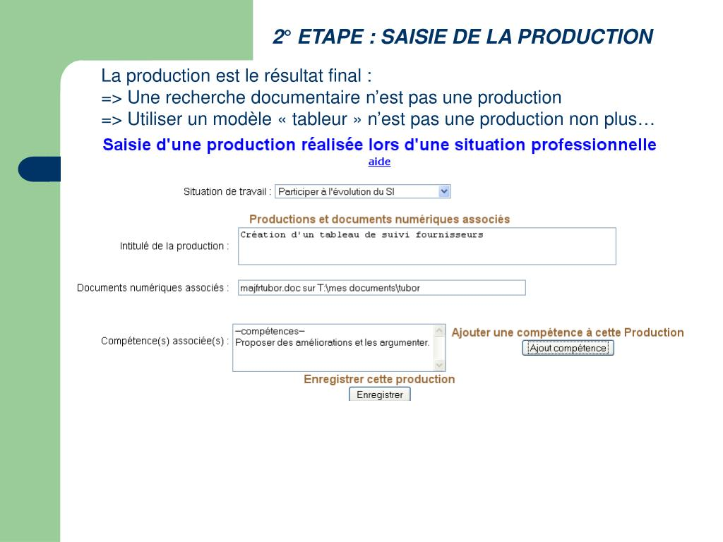 2° ETAPE : SAISIE DE LA PRODUCTION