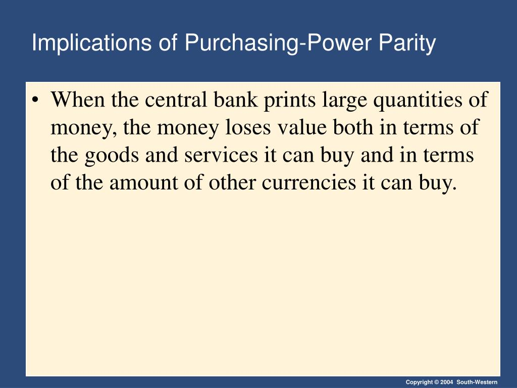 Implications of Purchasing-Power Parity