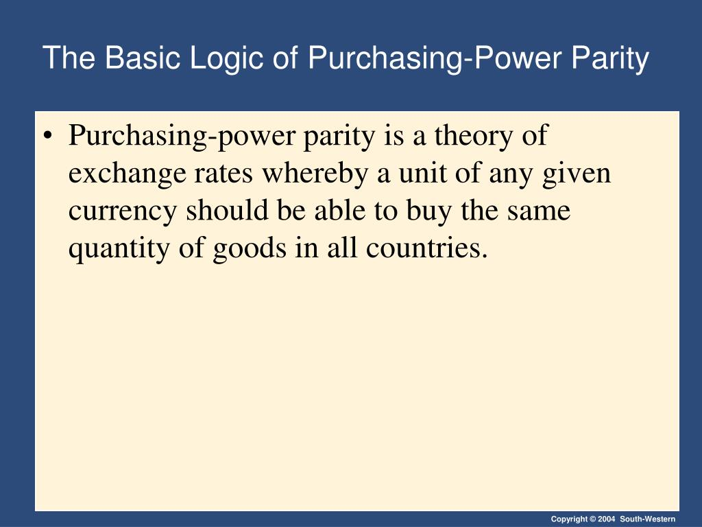The Basic Logic of Purchasing-Power Parity