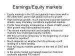 earnings equity markets
