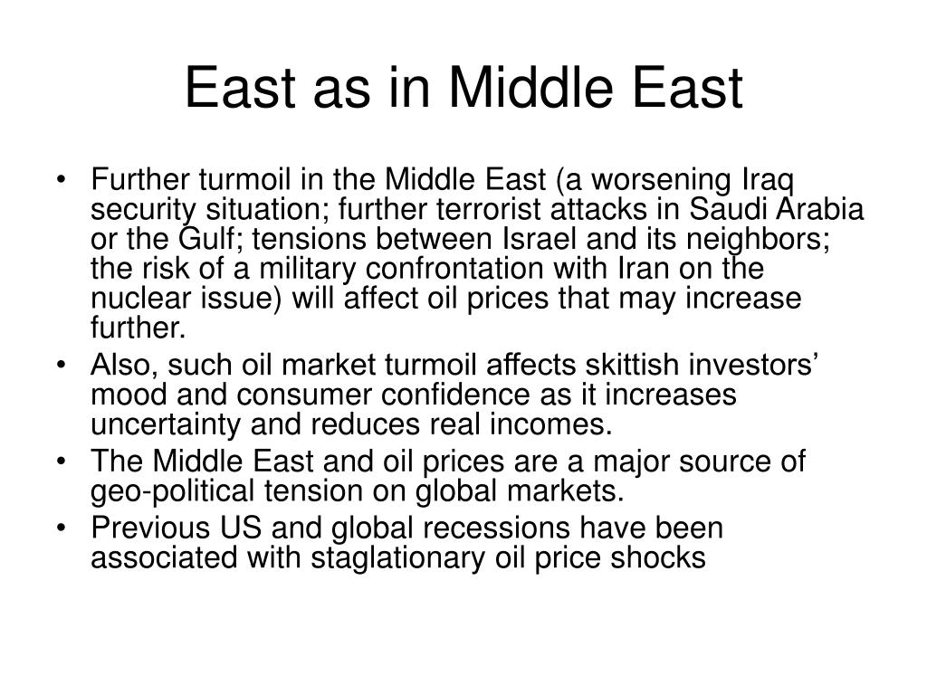 East as in Middle East