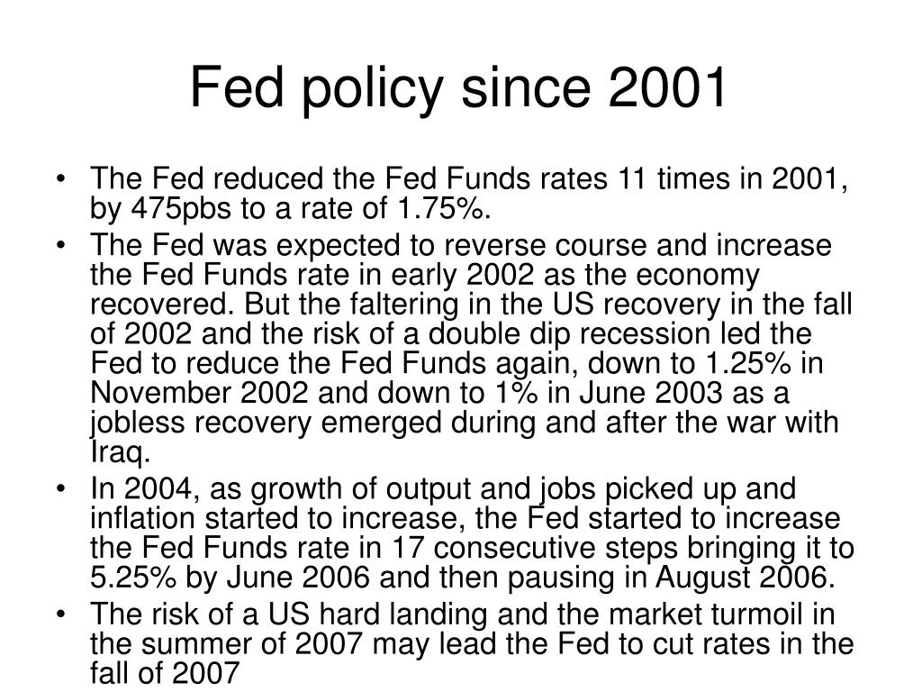 Fed policy since 2001