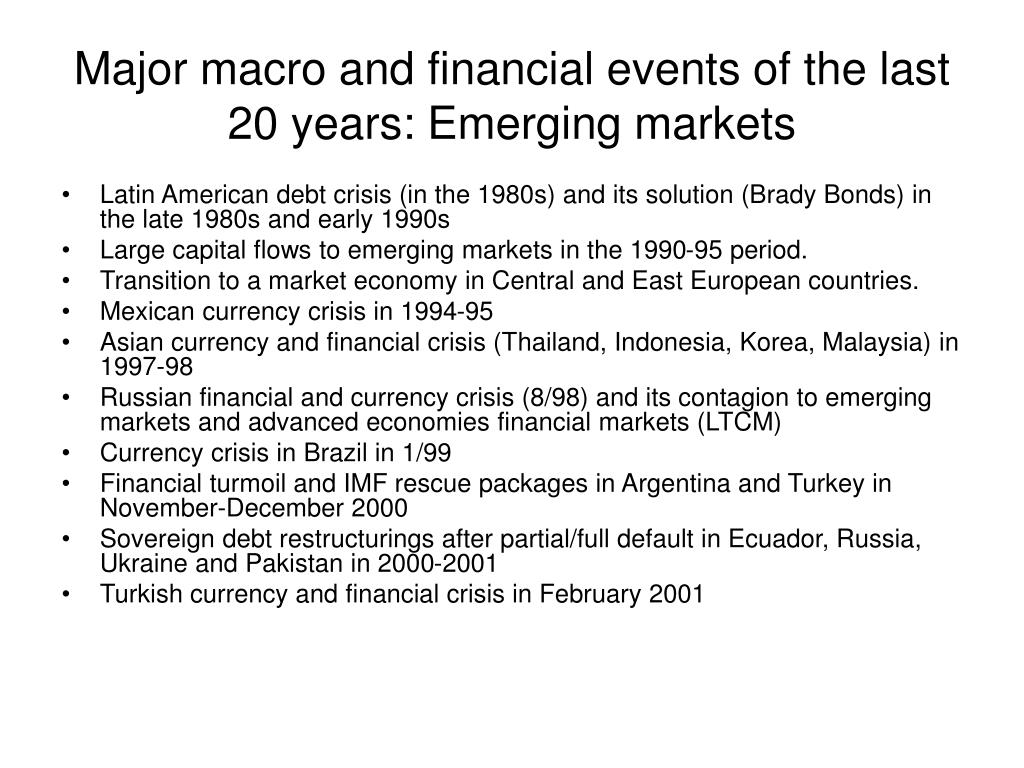 Major macro and financial events of the last 20 years: Emerging markets