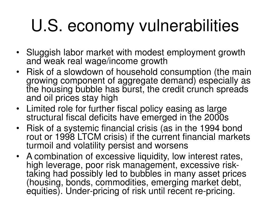 U.S. economy vulnerabilities