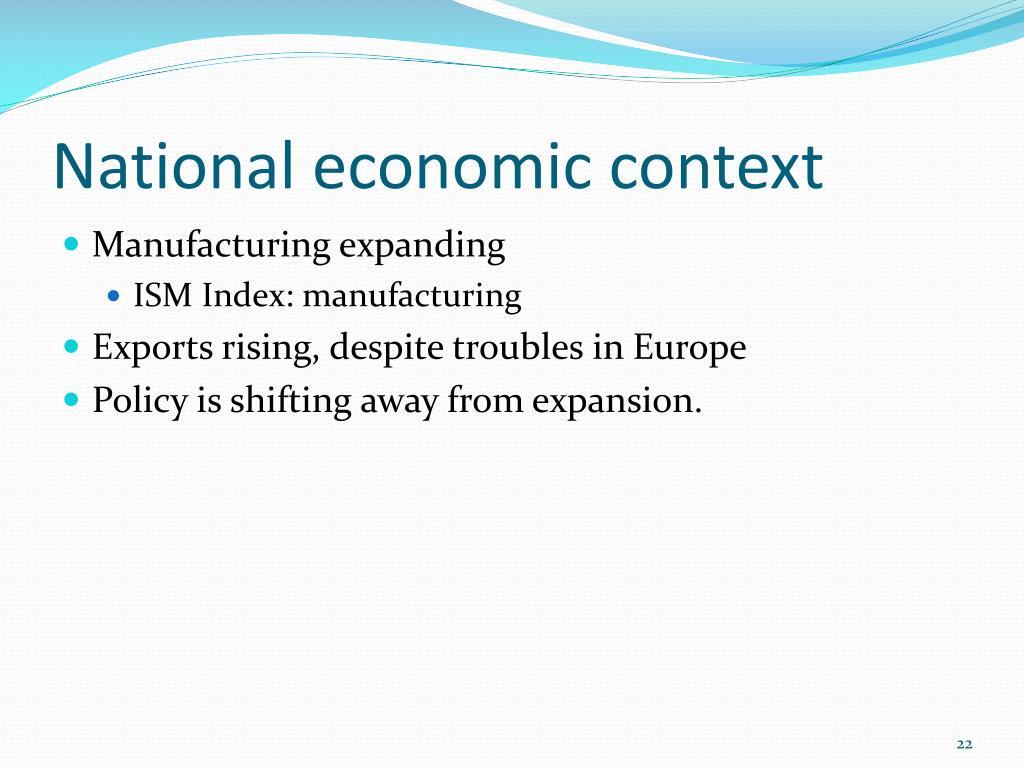 National economic context