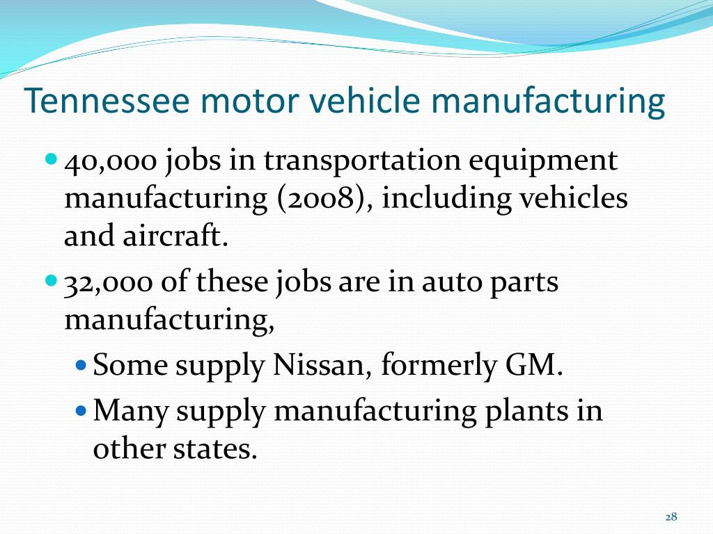 Tennessee motor vehicle manufacturing