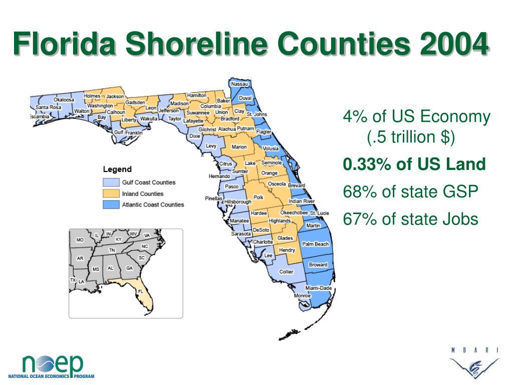 Florida Shoreline Counties 2004