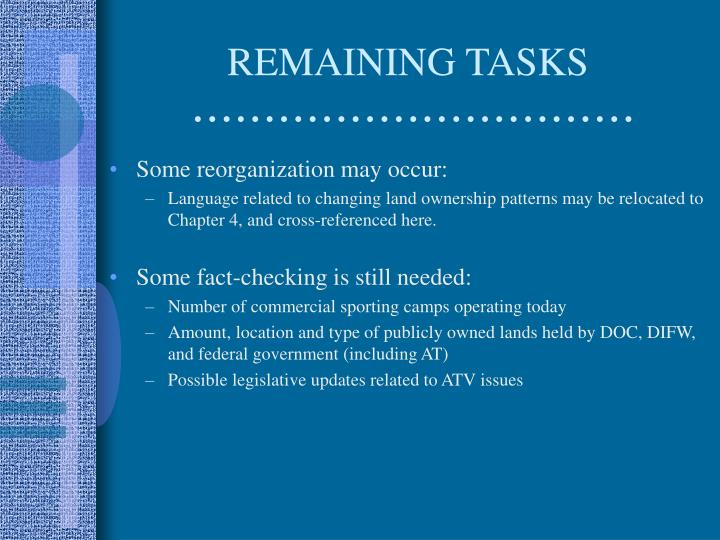 REMAINING TASKS