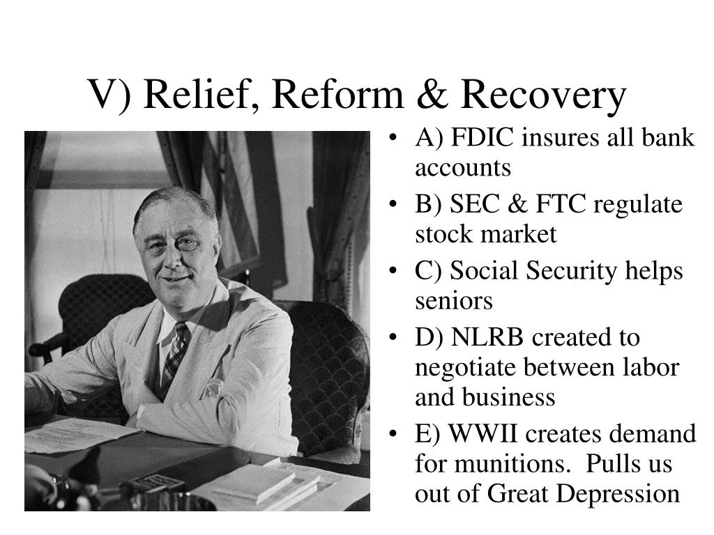 V) Relief, Reform & Recovery