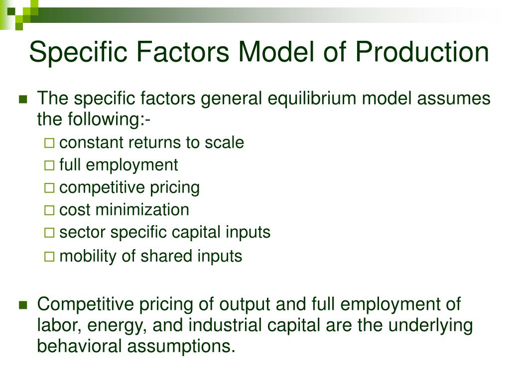 Specific Factors Model of Production