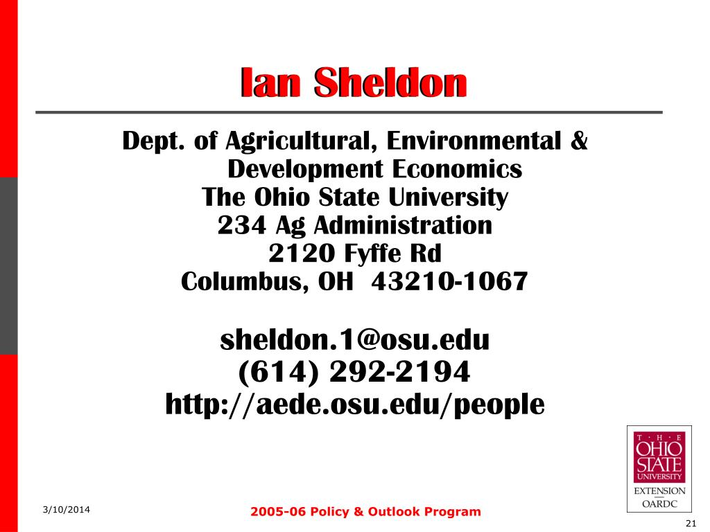 Dept. of Agricultural, Environmental & Development Economics