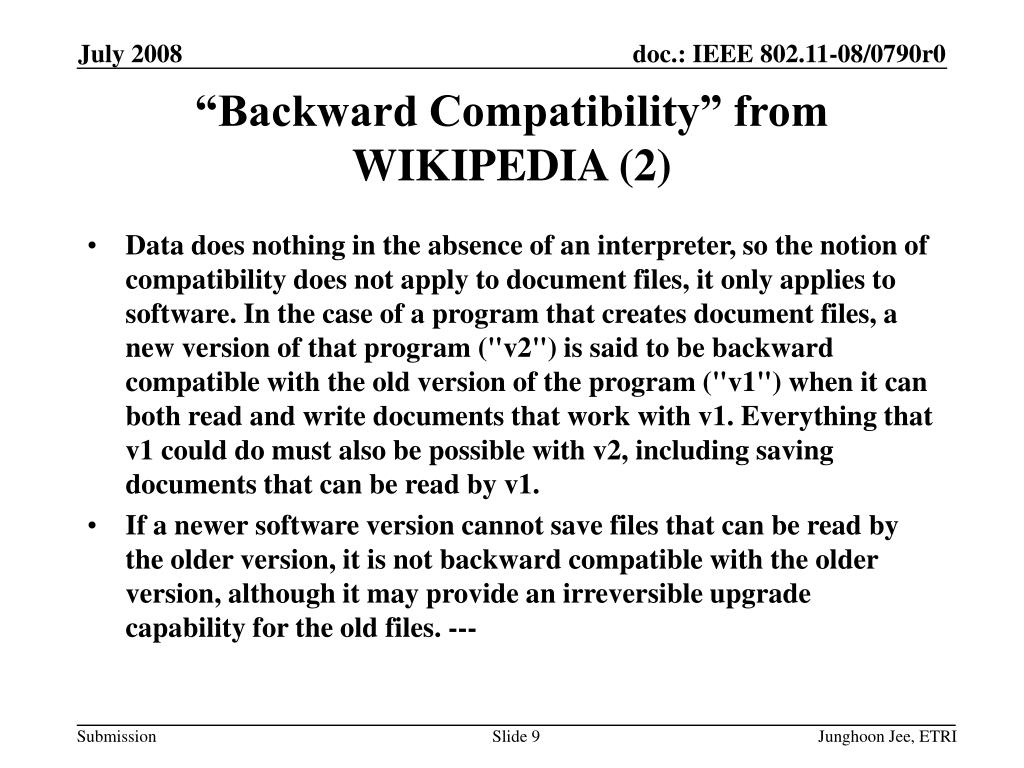 """Backward Compatibility"" from WIKIPEDIA (2)"