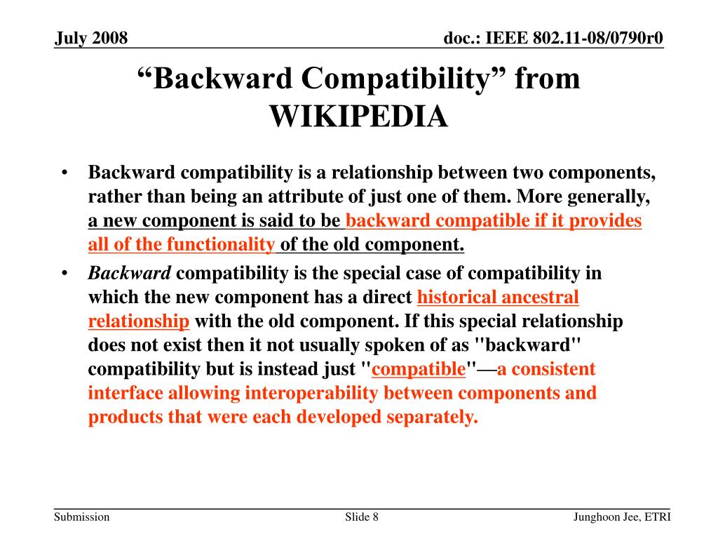 """Backward Compatibility"" from WIKIPEDIA"