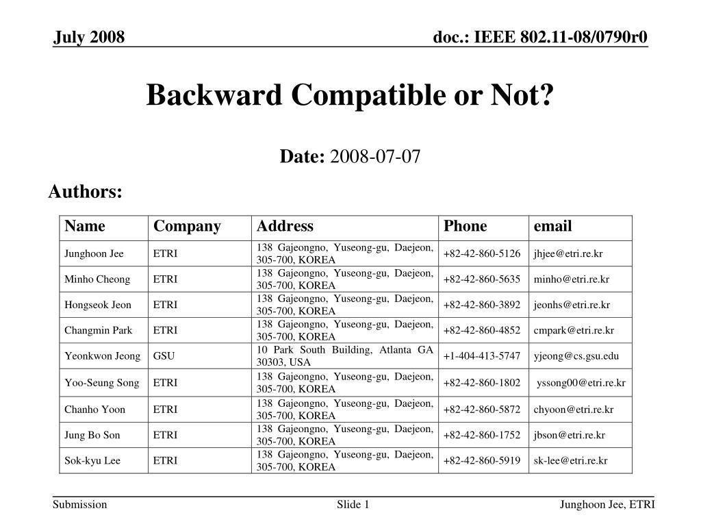 Backward Compatible or Not?