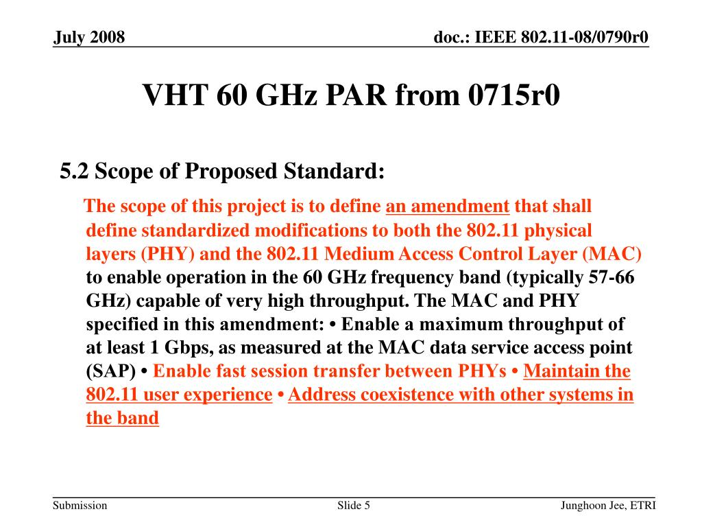 VHT 60 GHz PAR from 0715r0