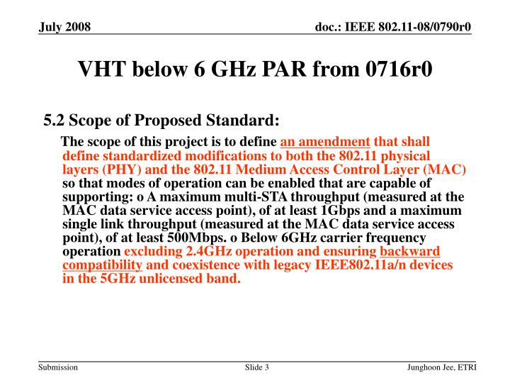 Vht below 6 ghz par from 0716r0
