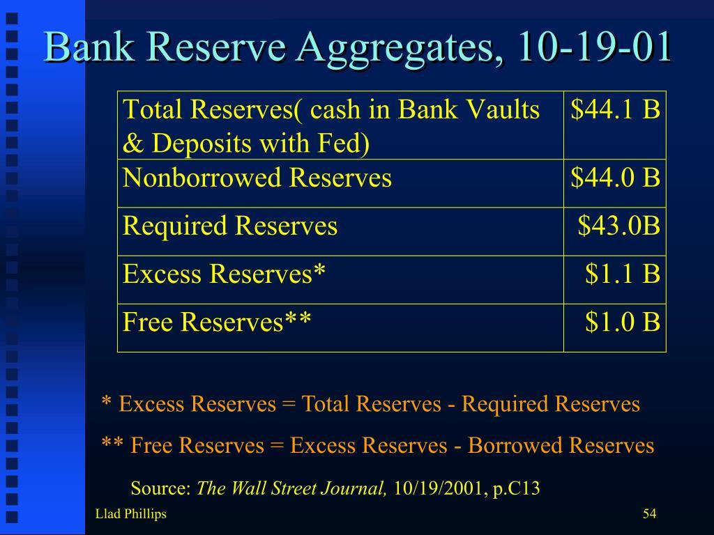 Bank Reserve Aggregates, 10-19-01