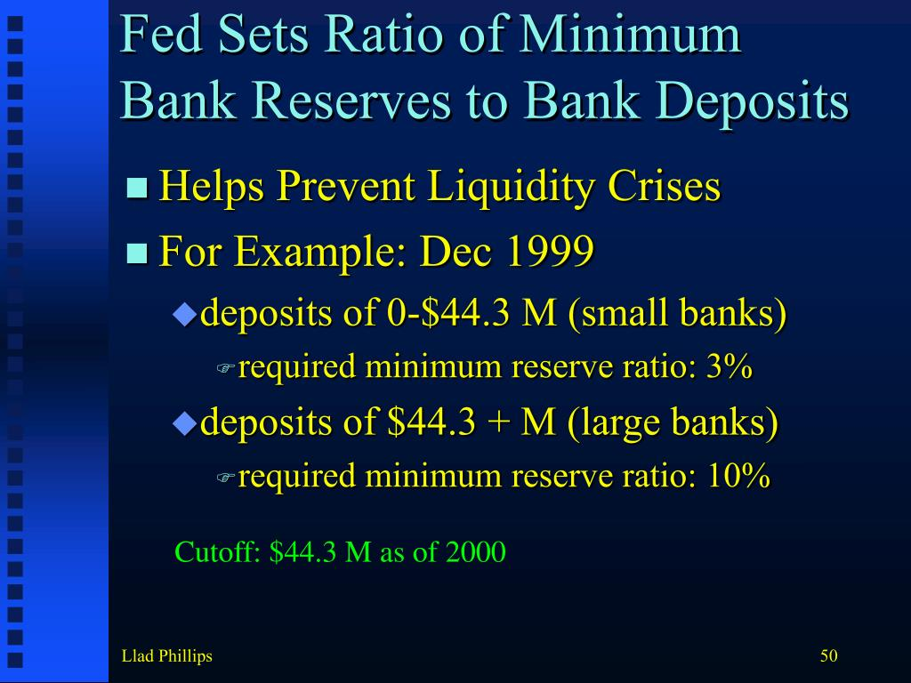 Fed Sets Ratio of Minimum Bank Reserves to Bank Deposits