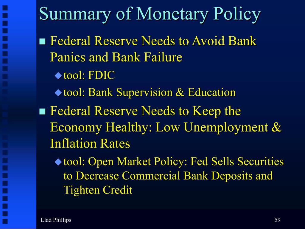 Summary of Monetary Policy